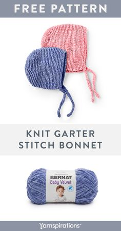 Yarnspirations is the spot to find countless free beginner knit patterns, including the Bernat Knit Garter Stitch Bonnet, mos. Browse our large free collection of patterns & get crafting today! Baby Knitting Patterns, Baby Hat Patterns, Baby Hats Knitting, Knit Baby Sweaters, Knitting Yarn, Free Knitting, Crochet Patterns, Knitted Baby Hats, Knit Or Crochet
