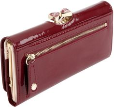 Ted Baker Titiana Crystal Bow Bobble Patent Matinee Purse in Red ...