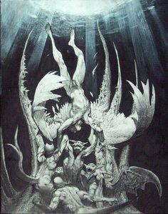 Simon Bisley- Lucifer falling from Heaven.love his art! Arte Horror, Horror Art, Simon Bisley, Satanic Art, Ange Demon, Biblical Art, Foto Art, Angels And Demons, Religious Art