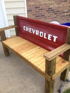 Tailgate Bench with 1967 tailgate my husband made.