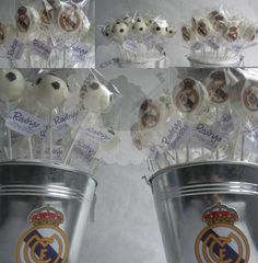 Real Madrid Futbol Cake Pops Soccer Birthday Parties, Sports Birthday, Soccer Party, Barcelona Vs Real Madrid, Real Madrid Soccer, Balloon Surprise, Ideas Para Fiestas, Party Cakes, Cake Pops