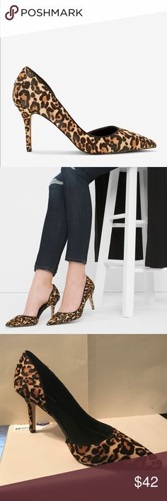 """ELLA HAIRCALF D'ORSAY PUMPS ELLA HAIRCALF D'ORSAY PUMPS   These Ella pumps are slightly shorter then their big sister—our customer-favorite Olivia Pumps. Reach for this leopard-print haircalf pair to add cool-girl chic to distressed jeans and a duster. Ella D'Orsay leopard-print haircalf heels Approx. 3.25"""" heel Leather and manmade materials; synthetic sole Imported. New and never worn. No original box. White House Black Market Shoes Heels"""