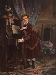 """Description: Francisco Javier Amérigo y Aparici.  Valencia 1842 - Madrid 1912  Portrait of a girl.  Oil on canvas  Signed and dated in 1875. On the piano, the musical score of the nocturne for two voices """"Au Myosotis"""", with lyrics by Joséphine Bely, music by Léo Marnet and dedicated Pauline de Cazenove  190x141 cm"""