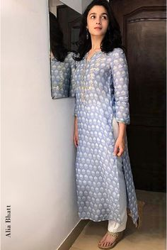 Buy Powder blue modal silk & cotton silk kurta and pant set by Anita Dongre at Aza Fashions Buy Antarva Kurta with trousers as seen on Alia Bhatt online on Anita Dongre and delve into handcrafted treasures. Kurta Designs Women, Salwar Designs, Latest Kurti Designs, Silk Kurti Designs, Dress Designs, Indian Attire, Indian Ethnic Wear, Indian Wedding Outfits, Indian Outfits