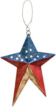 "#GJHE5275A Prim Americana Folk Star Ornies 6"" Set of 6"