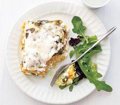 Slow-Cooker Squash Lasagna - I'll replace the ricotta with firm tofu crumbles and the mozzarella with vegan mozzarella to make it a vegan dish