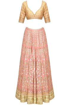 Blush pink gota patti embroidered lehenga set by Anita Dongre. Shop now: http://www.perniaspopupshop.com/designers/anita-dongre. #lehenga #anitadongre #perniaspopupshop #shopnow #happyshopping