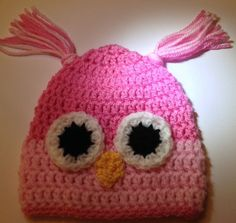 Handmade pink crocheted beanie owl hat for baby girl 0-3 months old