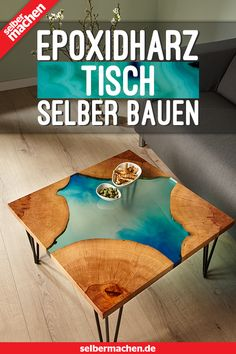 Epoxidharz-Tisch selbst gebaut Epoxy resin is hot stuff – but with the right instructions it's not hard to work with. Here you will learn how to make a table made of epoxy resin and tree discs – with professional tips! Sylvester Stallone, Epoxy Resin Table, Wood Resin, Make A Table, Diy Table, Wood Table, Decoration Table, House Decorations, Build Your Own