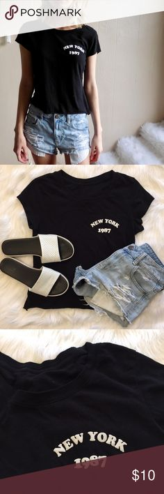New York Trendy Cropped Tee No tags, fits like XS/S. Excellent condition. 100% cotton, soft Tops Crop Tops