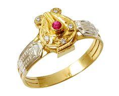 Anel de formatura música em ouro 18k 750 com 5 diamantes de 1 ponto cada e 1 pedra preciosa cabochão de  3 pontos