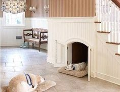 Use space under stairs for dog beds!