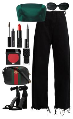 Untitled #577 by lindsjayne on Polyvore featuring moda, Katie Ermilio, Marques'Almeida, Kendall + Kylie, Gucci, Yves Saint Laurent, MAKE UP FOR EVER, BBrowBar and NARS Cosmetics