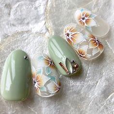 Bling Nail Art, Floral Nail Art, Bling Nails, Pretty Nail Art, Cute Nail Art, Cute Acrylic Nails, Manicure Y Pedicure, Gel Nails, Almond Nails Designs Summer