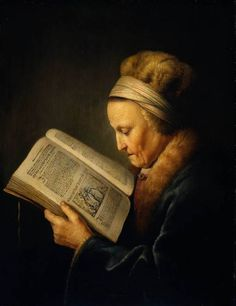 "OLD WOMAN READING (Rembrandt's Mother), 1631 by Gerrit DOU  [Dutch Baroque Era Painter, 1613-1675] aka  Gerard and DOUW or DOW. Dutch Golden Age painter. ""He specialised in genre scenes and is noted for his trompe l'oeil ""niche"" paintings and candlelit night-scenes with strong chiaroscuro. -wiki"" Gorgeous light. You'd recognize this lady anywhere. Almost photographic! Amazing"