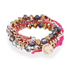 Bead + Chain Multi Wrap Bracelet Pink thread and firepolished beads hand-crafted into a multi wrap chain bracelet with an extended loop for adjustable fit.
