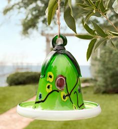 Green Glass Birdbath
