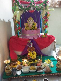 Ganesh Pooja, Ganesha, Ganpati Decoration At Home, Festival Decorations, Birthday Cake, Sculpture, Traditional, Art, Art Background