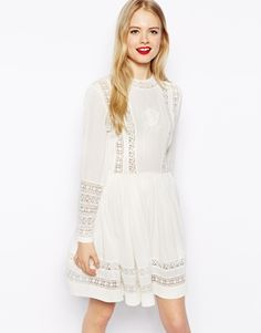 Image 1 of ASOS Skater Dress With Lace Inserts And Embroidery