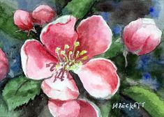 ACEO Original Painting Cherry Blossoms pink floral bloom flower red tree spring #Impressionism
