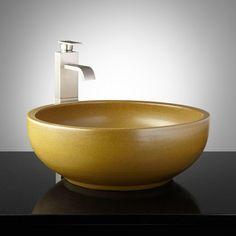 Hutchence Hand-Glazed Pottery Vessel Sink - Olive Green