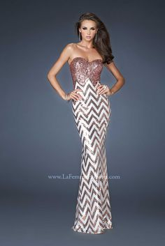 Chevron sequence gown