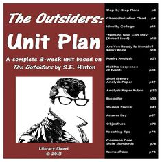 """A complete 3-week unit on """"The Outsiders"""" by S.E. Hinton, including a student packet with answer key, graphic organizers that prompt close reading and critical thinking, engaging activities, author's craft, poem analysis, and a short literary response essay. Learning Objectives, Teaching Tips, and Common Core Standards included."""