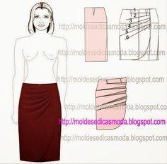 PASSO A PASSO TRANSFORMAÇÃO MOLDE DE SAIA Desenhe o molde base com a frente e costas. Desenhe a altura da saia. Aperte as laterais um pouco. Desenhe a linh