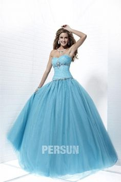 Beeston Tulle Sweetheart Sequin Bule Ball Gown Prom Dress #prom dresses