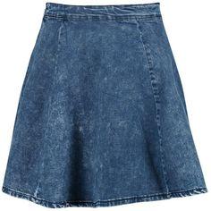 Boohoo Joanna Denim Skater Skirt ($16) ❤ liked on Polyvore featuring skirts, skater skirts, flared denim skirt, blue skirt, denim circle skirt and blue circle skirt