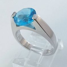 Ladies Russian Formula Blue Topaz CZ Silver Finish Ring~Size 7-Free Gift Box