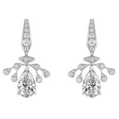 """""""Aigrette Impériale"""" #Earrings from """"Joséphine"""" #Chaumet - #FineJewellery collection in #Platinum set with one 2,28 DIF2A carat #PearCut - #Diamond, one 2,25 DVVS1 carat #PearCut - #Diamond and 42 #BrillantCut diamonds july 2015 ---"""