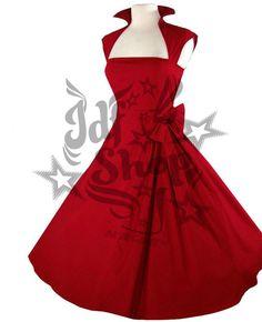 Vestido Vivien Rojo. Coqueto vestido de los años 50-60. La forma del escote y como acaba en la zona alta de la espalda harán que te sientas la malvada de la pelis. Se cierra lateralmente con una cremallera. Lleva una gran moña del mismo material cosida en un lateral de la cintura. 55€