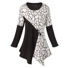 Women's Tunic Top - Black And Ivory Elegance Shirt - Xl