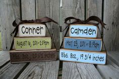 Cute baby gifts! Print on 8 1/2 x 11 scrapbook paper, cut to size and modge podge to wood blocks. I could definitely make these! @ I Can Do It Pins...I love this!