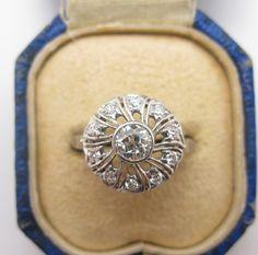 Vintage Art Deco Palladium Diamond Ring