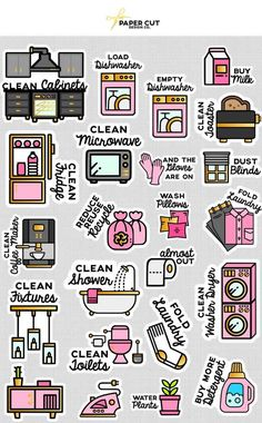 CLEANING PLANNER STICKERS - Spring Cleaning Stickers - Cleaning List Stickers - Spring Stickers - Decluttering Stickers - Declutter Stickers by PAPERCUTdesignco on Etsy