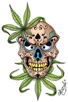 weed tattoo art | Marijuana Sugar skull by Azul80