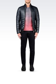 The official online Emporio Armani  store for the finest Italian clothing, shoes, & many more fashion and lifestyle items from the collection. Emporio Armani, Armani Men, Armani Store, Italian Outfits, Down Coat, Leather Jacket, Mens Fashion, Blazer, Jackets