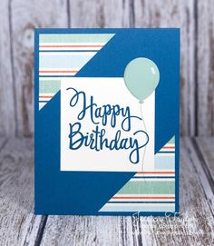 The Stylized Birthday stamp is perfect for birthday cards to give to anyone. The handwritten font makes it look nice on flowery cards or on cards that are a little more manly like this one. Plus it's just a nice big size! Dapper Denim card base: 4-1/4″ x 11″ scored at 5-1/2″ Very Vanilla: 2-3/4″ x 2-3/4″ Striped paper: 2-1/4″ x 2-1/4″ cut on the diagonal Doesn't thatballoon look realistic?!?I used the Chalk Marker to add a little highlight to the right side of it. Then I sponged a little…