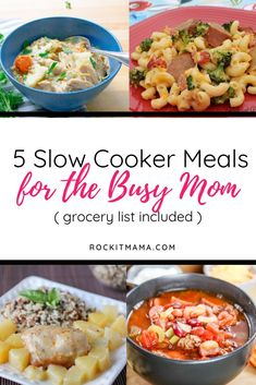 I love meal planning! These make ahead freezer/slow cooker meals are a great resource for prepping my weekly dinners. And it comes with a free grocery list - even better! recipes for family busy mom Slow Cooker Recipes for Busy Moms plus Grocery List Slow Cooking, Slow Cooker Meal Prep, Slow Cooker Freezer Meals, Slow Cooker Recipes, Crockpot Recipes, Easy Cheap Dinner Recipes, Easy Vegetarian Dinner, Easy Healthy Dinners, Easy Healthy Recipes