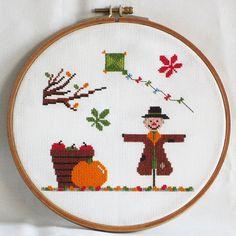Autumn Cross Stitch Pattern-scarecrow, kite, pumpkin, tree, chestnut leaves, PDF, instant download