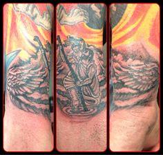 #timeless #timelesstattoos #thetimelesstattoo #alton #hampshire #marketstreet #tattoo #tattoos #tattooart #ink #tattoolife #inklife #bodyart #bodymods #tattoosofinstagram #tattoostudio #work #vintageshop #nofilter #tattoolove #tattoolovers #stchristopher #winged #religious #holy #patron #patronsaint #patronsaintoftravelers #wings