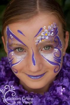 Make-up, beautiful butterfly- Schmink, mooie vlinder Make-up, beautiful butterfly - Face Painting Images, Face Painting Tips, Girl Face Painting, Face Painting Designs, Butterfly Face Paint, Butterfly Makeup, Purple Butterfly, Cool Face Paint, Kids Makeup