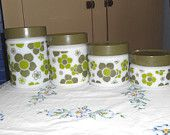 Cool 1970s Fire King Anchor Hocking Milk Glass & Green Hippie Flower Kitchen Canister Jars FREE SHIPPING