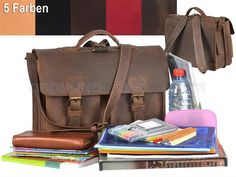 Ruitertassen Leder Schulranzen - kleine Schultasche im Old Style + Rückengarnitur - 5 Farben