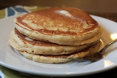 The perfect Saturday morning starts with these....Whole Wheat Pancakes that don't taste like they are healthy!
