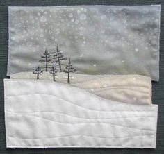 AND SEW IT GOES: Small work Like this pic - would make the snow and sky patchwork Fabric Cards, Fabric Postcards, Small Quilts, Mini Quilts, Landscape Art Quilts, Quilt Modernen, Winter Quilts, Tree Quilt, Textiles