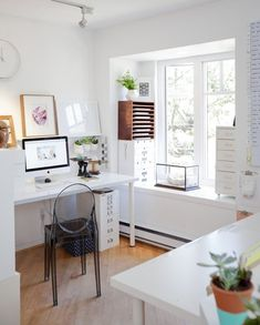 Love this all white office space.
