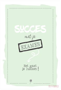 Postkaart Succes met je examen, groen Dutch Quotes, Good Luck, Best Quotes, Qoutes, Wish, Motivational Quotes, Stress, Greeting Cards, Happy Birthday